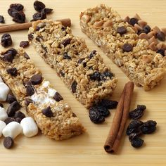 S'mores Chewy Granola Bars  Ingredients  4 tbsp. (1/2 stick) unsalted butter  1/4 cup packed light brown sugar  1/4 cup honey  2 cups plain granola  1 cup rice cereal (Rice Krispies, etc.)  2 tbsp. graham cracker crumbs (optional)  1 cup mini marshmallows  1/2 cup semisweet chocolate chips