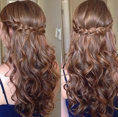 Half updo wavy haired brunette