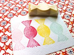 candy stamp. hand carved rubber stamp. hand carved by talktothesun, $7.00
