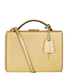 MARK CROSS Small Metallic Grace Box Bag. #markcross #bags #shoulder bags #hand bags #leather #metallic #