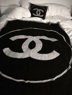 Branded Bed by Chanel ;) Love the luxurious monochrome black  white Chanel throw and pillow