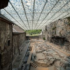 Coverage of Archaeological Ruins of the Abbey of St. Maurice / by Savioz Fabrizzi Architectes - Architecture List Contemporary Architecture, Landscape Architecture, Architecture Design, Ruined City, Temple Ruins, Architectural Engineering, Celtic, Maurice, Ancient Ruins