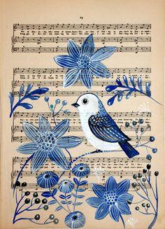 Blue Bird Painting on a Vintage Music Notes Paper / Wall Art / Room Decor / Modern Art