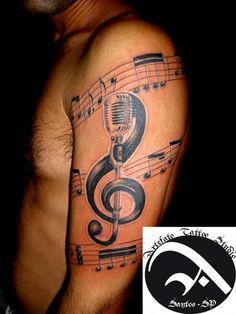 Music tattoo by artefatotattoo on deviantart. Music Tattoo Designs, Music Tattoos, Tattoo Designs For Women, Life Tattoos, Tattoos For Women, Music Tattoo Sleeves, Sleeve Tattoos, Forearm Tattoos, Great Tattoos