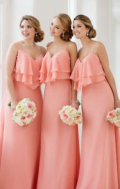 36bba0c7d2caf Elegant Straps V Neck Tiered Elegant Long Bridesmaid Dress Simple Chiffon  Formal Gown Peach Prom Dress