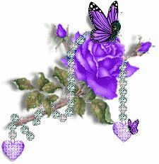 Purple Rose... Butterflies and Hearts Sparkle