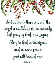 Luke 2:13-14, Glory to God in the Highest printable 8 x 10 instant download Christmas art - Wisdom Wit Quotes