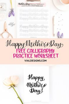 Mother's Day Calligraphy Tutorial plus FREE Practice Worksheet Calligraphy Worksheet, Calligraphy Practice, Calligraphy Handwriting, Copperplate Calligraphy, Penmanship, Modern Calligraphy Tutorial, Hand Lettering Tutorial, Hand Lettering For Beginners, Calligraphy For Beginners
