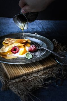 Coconut Crepes With Yogurt, Mango and Palm Sugar Caramel by sugaretal #Crepes
