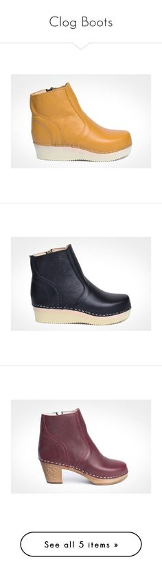 """""""Clog Boots"""" by maguba ❤ liked on Polyvore featuring shoes, boots, clogs footwear, yellow boots, low platform shoes, leather clog shoes, yellow clogs, leather clogs, black platform clogs and black platform shoes"""