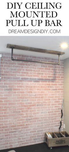 A ceiling mounted pull up bar is a perfect addition to a home gym. Here is a detailed tutorial to make your own. gym DIY Ceiling Mounted Pull Up Bar - Great Addition to a Home Gym Home Gym Basement, Home Gym Garage, Diy Home Gym, Gym Room At Home, Home Gym Decor, Best Home Gym, Basement Remodeling, Basement Ideas, Remodeling Ideas