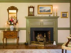 Mid-18th-century New England high style was simpler than its mid-Atlantic counterpart. The living room's fireplace wall has that restrained sensibility.