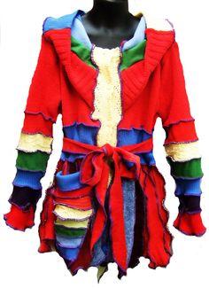 Elf sWEATER, cOAT, children sweater, knitting, todler hoodie, patchwork coat, girl dress, handmade. $98.00, via Etsy.