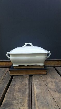 Antique American Ironstone Square Tureen With Lid, White Stoneware Serving Bowl, Glasgow Pottery