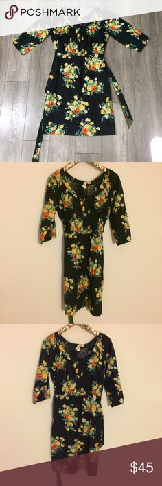 Anthropologie Maeve black Floral 3/4 sleeve dress Good used condition Inventory# 192 Anthropologie Dresses