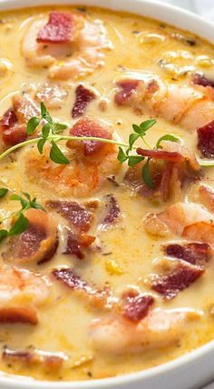 Bacon, shrimp and corn chowder seafood soup recipes, crockpot fish recipes, Fish Recipes, Seafood Recipes, Dinner Recipes, Recipies, Summer Soup Recipes, Sweet Corn Recipes, Corn Soup Recipes, Creamy Soup Recipes, Shrimp And Rice Recipes