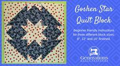 "Goshen Star Quilt Block: 8"", 12"" and 16"" blocks"