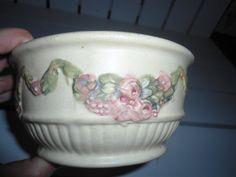 Vintage Weller Roma Creamware Swag Garland Roma Bowl    ChangingTreasures.com
