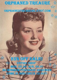 25% OFF SALE! Entire Shop Inventory~ No Minimum Purchase Required! Come in and check us out ~ Orphaned Treasure OrphanedTreasure.Etsy.com