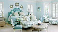 Say Yes to Sea Glass | This quintessential coastal color is right at home in every corner of a beach house, but in a bedroom it lends an especially soothing touch. See our favorite ways to incorporate shades of blue from sky to navy and in between.