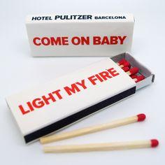 "Cajas de cerillas modelo ""Hotel"" para el Hotel Pulitzer de Barcelona. Pantone, Barcelona, Light My Fire, Baby Coming, Models, Match Boxes, Natural Wood, Fire, Advertising"
