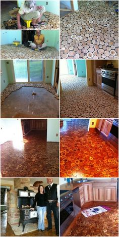 Considering Cordwood? Check out this Stunning Handmade Flooring! ... really pretty flooring! thinking of trying this on the screened in porch...
