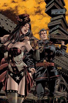 Steampunk Superman & Wonder Woman by Panosian.
