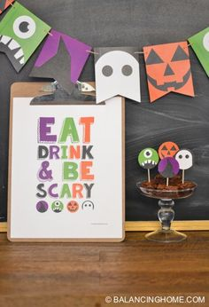 "Halloween printable party pack! Cute witch, ghost, pumpkin & monster bunting and an, ""eat, drink & be scary"" sign."