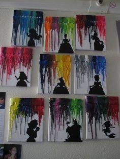 Cool DIY Disney Wall Art Ideas | Melted Crayon Disney Art by DIY Ready at http://diyready.com/15-diy-room-decor-ideas-for-teenage-girls-who-love-disney/