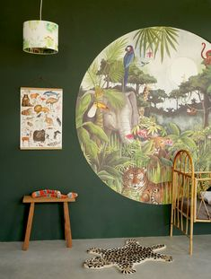 Quite a buzz in the Mighty Jungle! Everywhere animals are peeking through the leaves of the forest. Can you spot who is living there? Jungle Baby Room, Jungle Bedroom, Jungle House, Kids Bedroom, Cosy House, Simple Bedroom Decor, Baby Room Design, Toddler Rooms, Aesthetic Bedroom