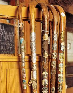 Look for far-off finds from Deb's European buying trips, like these German walking canes.   - CountryLiving.com