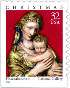 The exquisite 15th-century relief featured on this 1998 Christmas stamp is the product of an unknown artist at a Florentine workshop. Its depiction of an energetic child, twisting and reaching for his mother's veil, introduces a playful and human quality to the sacred image. What do you think of the image?