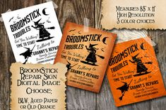Halloween Witch Vintage Sign Broom Repair Instant Digital Download Collage Sheet Printable Scrapbook Image Clip Art INSTANT DOWNLOAD