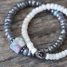 Raw Tourmaline Diamond Bracelet with Diamond Labradorite Beadwork, Pave in Sterling Beaded Bracelet, Storm Grey Purple, White, Blue, Pink by byjodi on Etsy https://www.etsy.com/listing/209285210/raw-tourmaline-diamond-bracelet-with