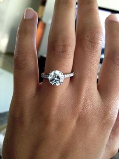 2ct. round solitaire with diamond pave band. WOW!!!