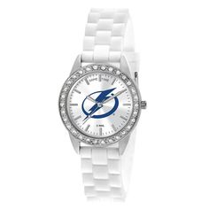 Give a little bling to that special someone. The Tampa Bay Lightning Frost Ladies White Wrist Watch features an officially licensed team logo in team colors, stainless steel construction and a stylish