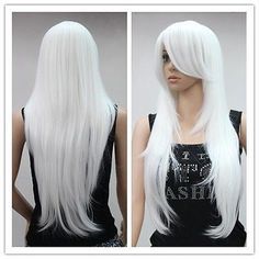 100% New HOT Sell! New Fashion white long straight cosplay party Wigs