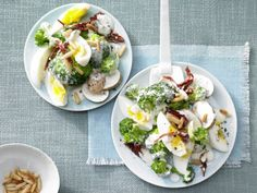 Broccoli and hard-boiled eggs are topped with a yogurt dressing for this crunchy salad whose leftovers will make a great lunch for tomorrow.