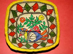 Buy Bowl Paper Mache Madhubani Painting Square Shape In Yellow, Green, Red…