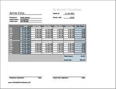 Biweekly Timesheet (horizontal orientation) Printable Time Sheets, free to download and print