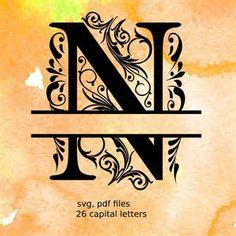 Split Monogram Letters, Split Alphabet svg files, vector files for silhouette… Cricut Monogram, Free Monogram, Cricut Fonts, Monogram Fonts, Svg Files For Cricut, Monogram Letters, Free Printable Monogram, Anchor Monogram, Monograms