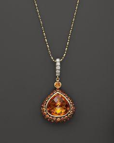 "Bloomingdale's Madeira Citrine, Orange Sapphire & Diamond Pendant on 14K Yellow Gold Chain, 18"""