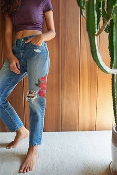 Levi's 501 Cropped Skinny Jean – Custom Blues | Urban Outfitters