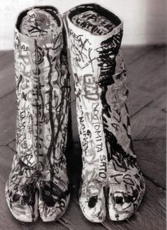 S/S 1990 Tabi Boots with hand tagged graffiti
