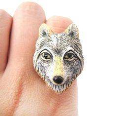 Adjustable Lone Wolf Shaped Porcelain Ceramic Animal Ring   Handmade