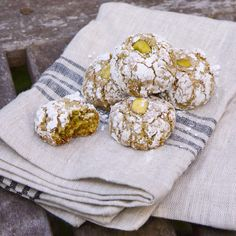 Sicilian Pistachio Cookies - I added tsp cardamom, omitted the lemon zest, and subbed rose water for vanilla (because my vanilla wasn't GF); made 21 bite-size cookies. Italian Cookie Recipes, Sicilian Recipes, Italian Cookies, Italian Desserts, Sicilian Food, Italian Pistachio Cookies Recipe, Italian Foods, Tea Cakes, Almond Recipes