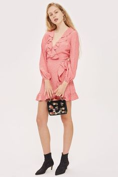 6d35efad1fe ex TOPSHOP Spotted Ruffle Wrap Tea Dress UK 4-18