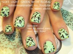 Black and green flower nails