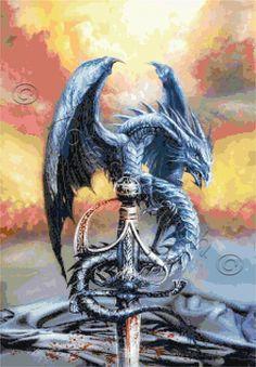 Dragon with sword cross stitch kit, pattern | Yiotas XStitch