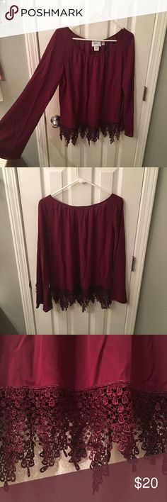 Long sleeve blouse Maroon/Burgundy long sleeve sheer blouse bought from Cavender's. Only worn once. Women's size medium. Tops Blouses
